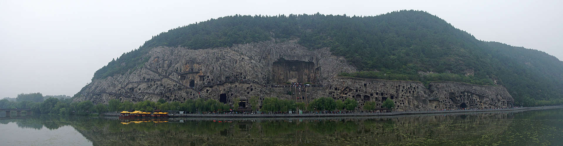 Photo panoramique des grottes de Longmen